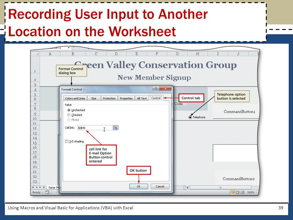 Recording User Input to Another Location on the Worksheet