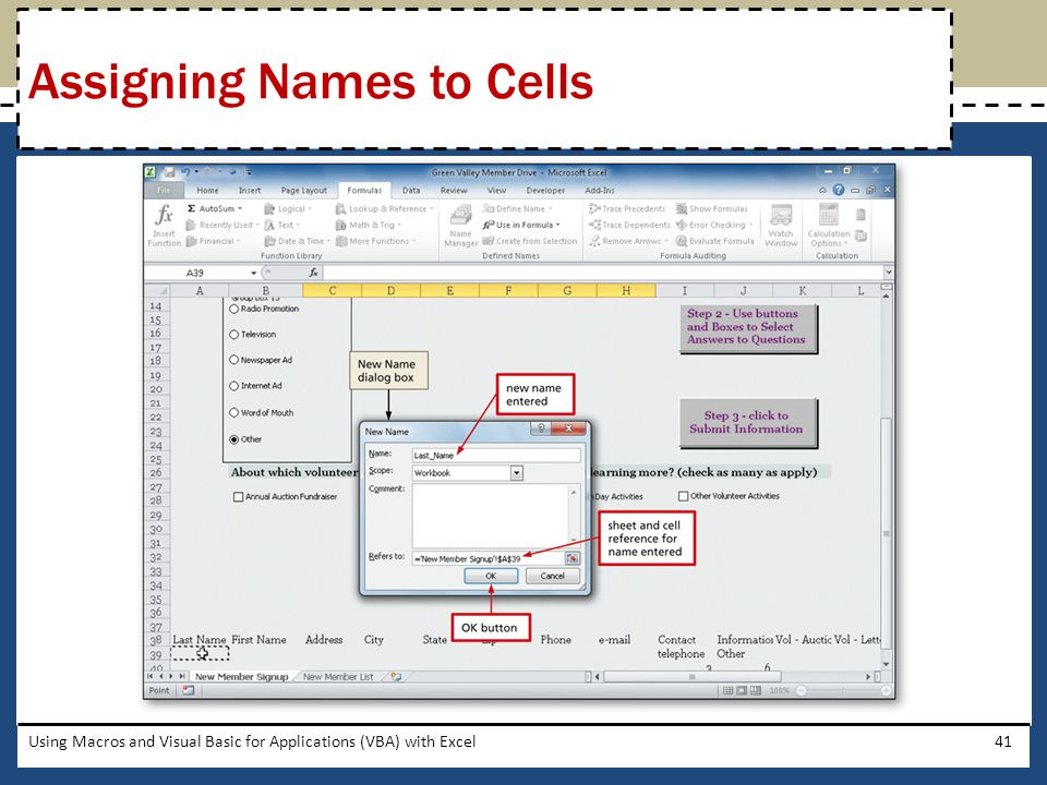 Assigning Names to Cells
