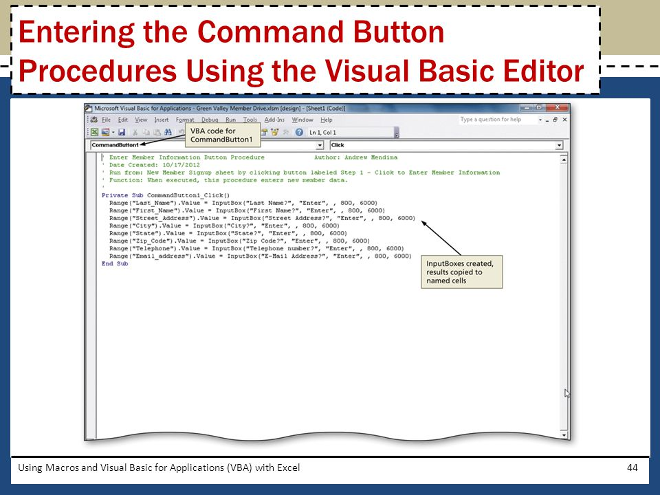 Entering the Command Button Procedures Using the Visual Basic Editor