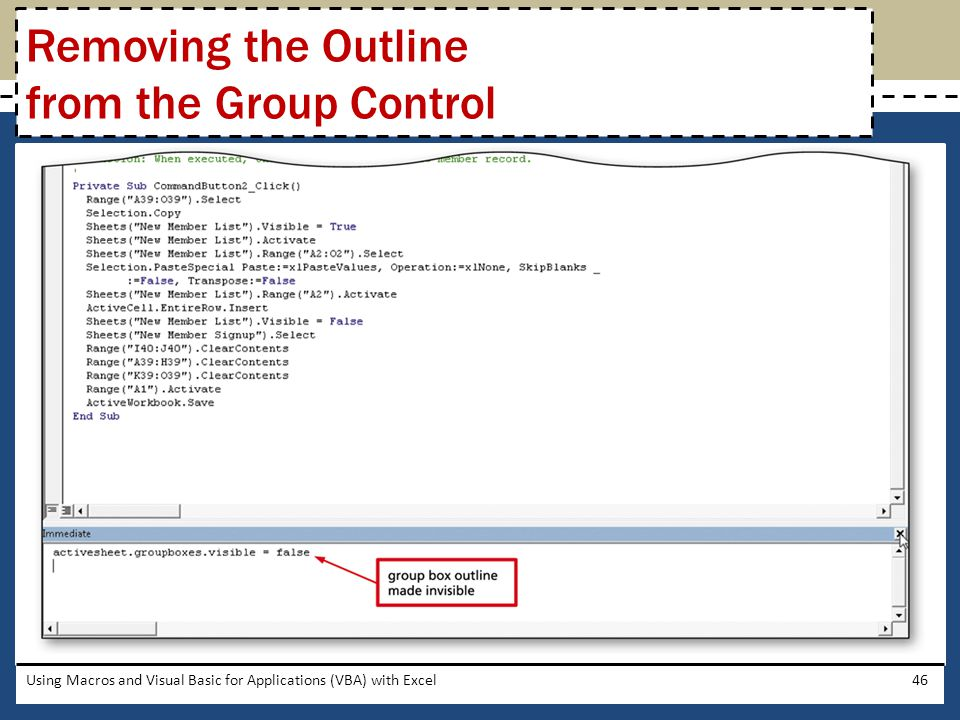 Removing the Outline from the Group Control