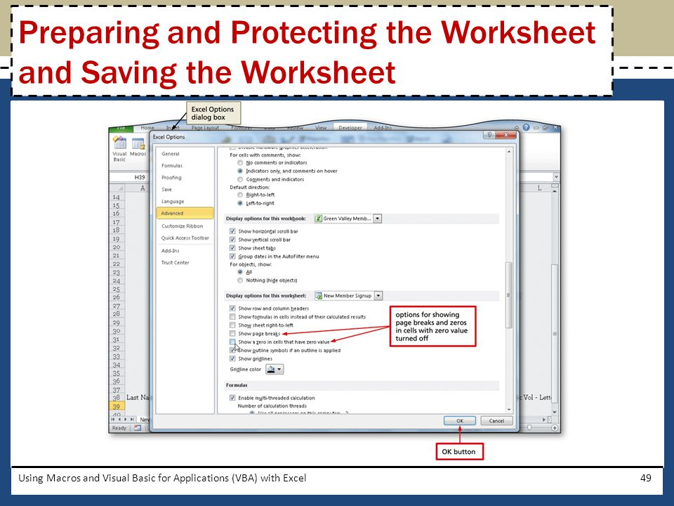 Preparing and Protecting the Worksheet and Saving the Worksheet