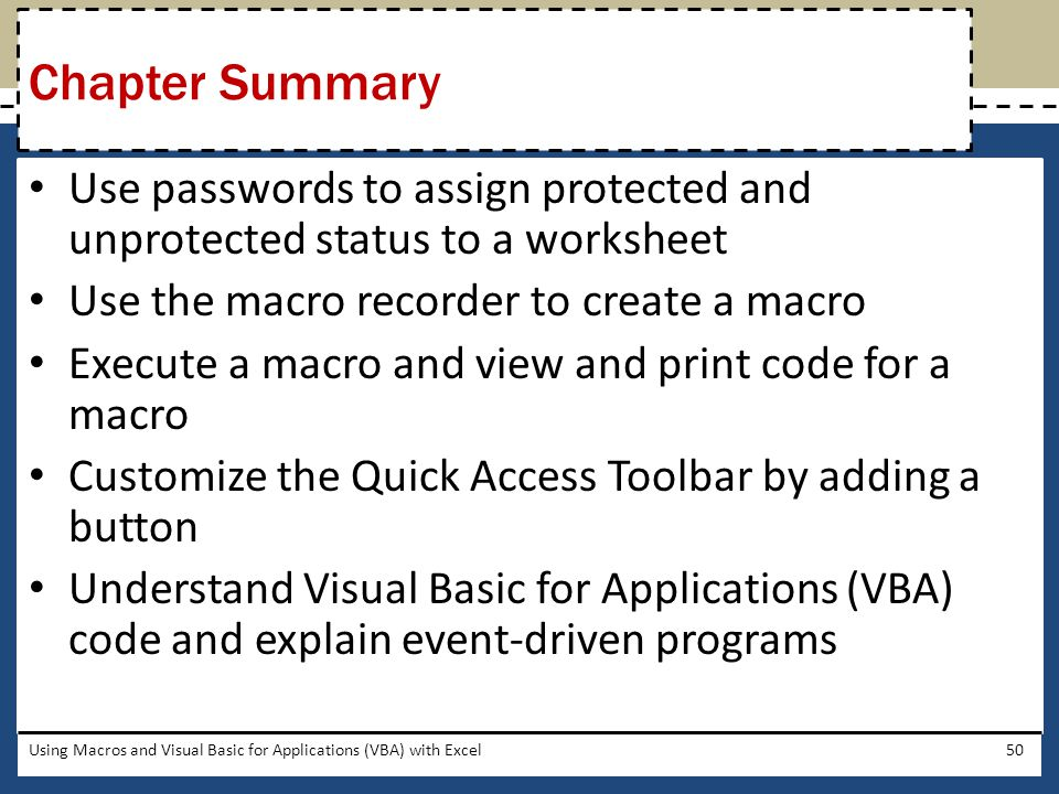 Chapter Summary Use passwords to assign protected and unprotected status to a worksheet. Use the macro recorder to create a macro.