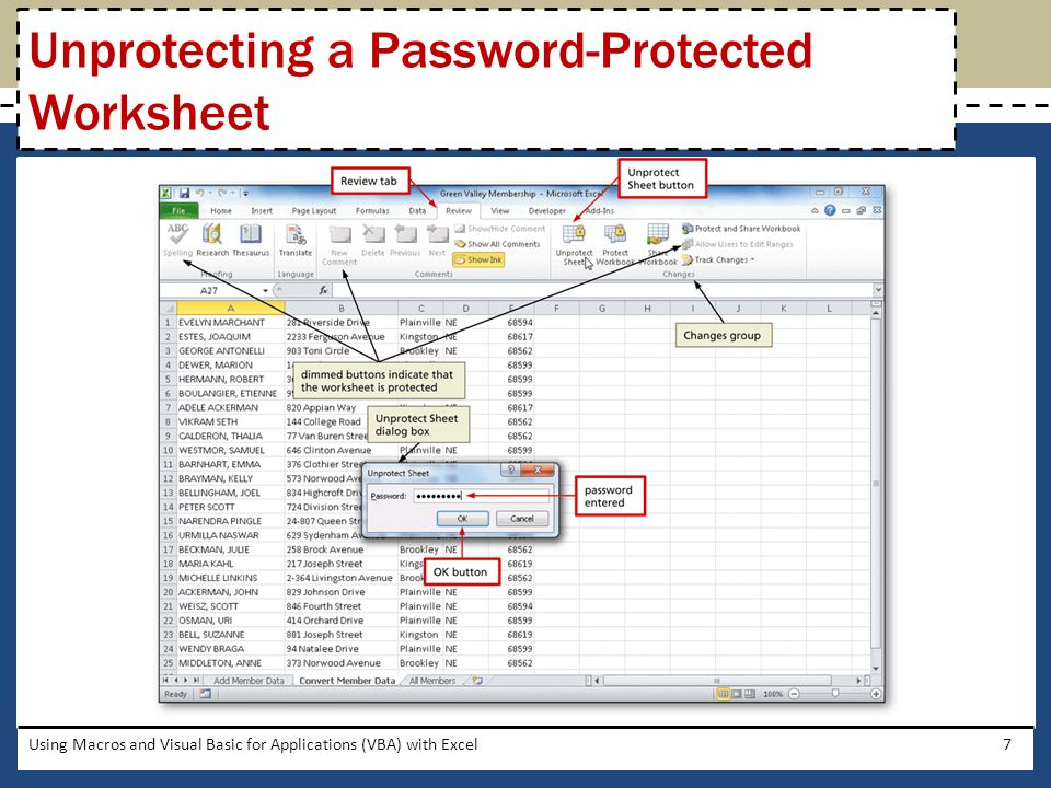 Unprotecting a Password-Protected Worksheet
