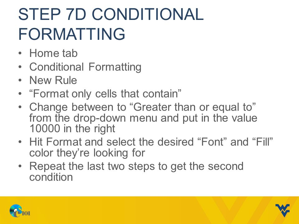 Step 7d Conditional formatting