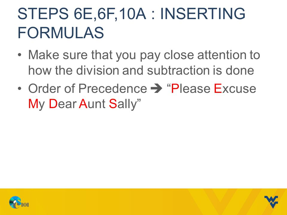 Steps 6e,6f,10A : Inserting formulas