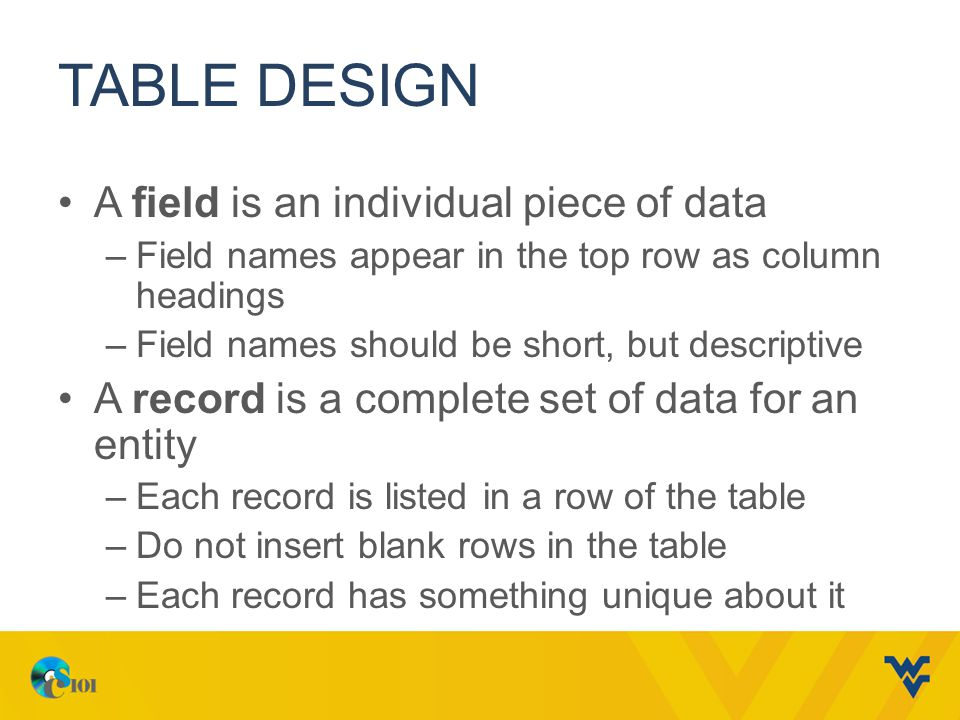 Table Design A field is an individual piece of data