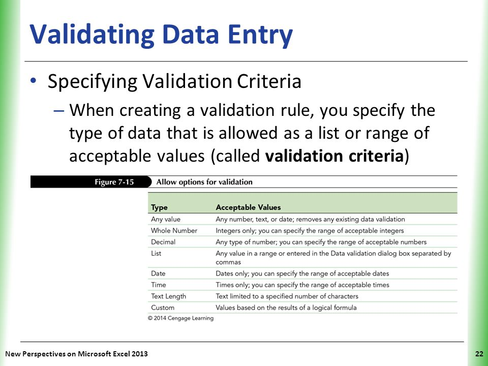 Validating Data Entry Specifying Validation Criteria