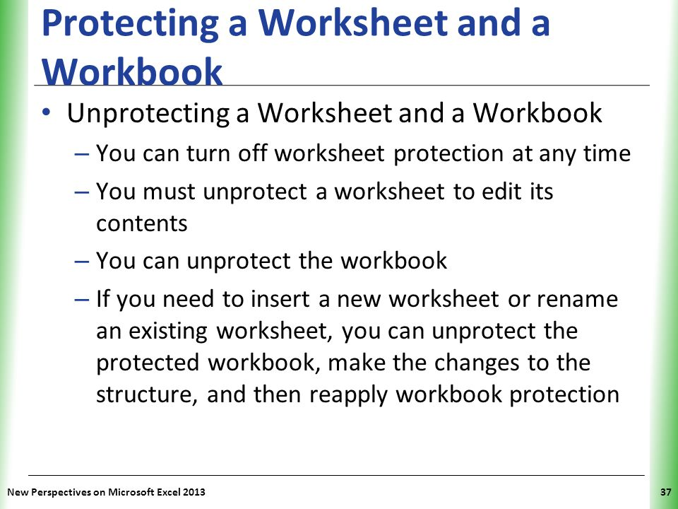 Protecting a Worksheet and a Workbook