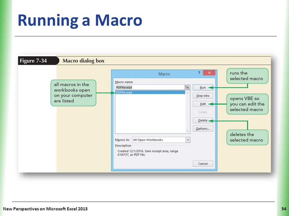 Running a Macro New Perspectives on Microsoft Excel 2013