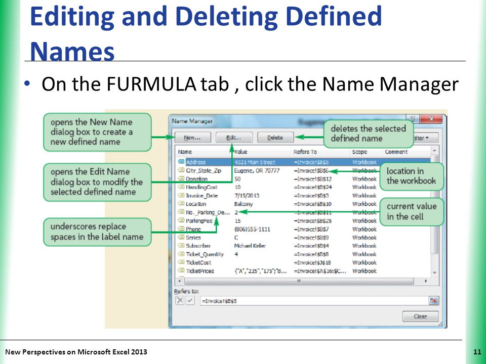 Editing and Deleting Defined Names