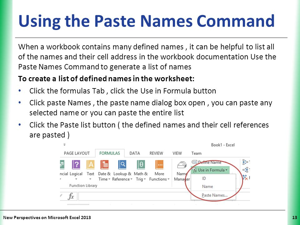 Using the Paste Names Command