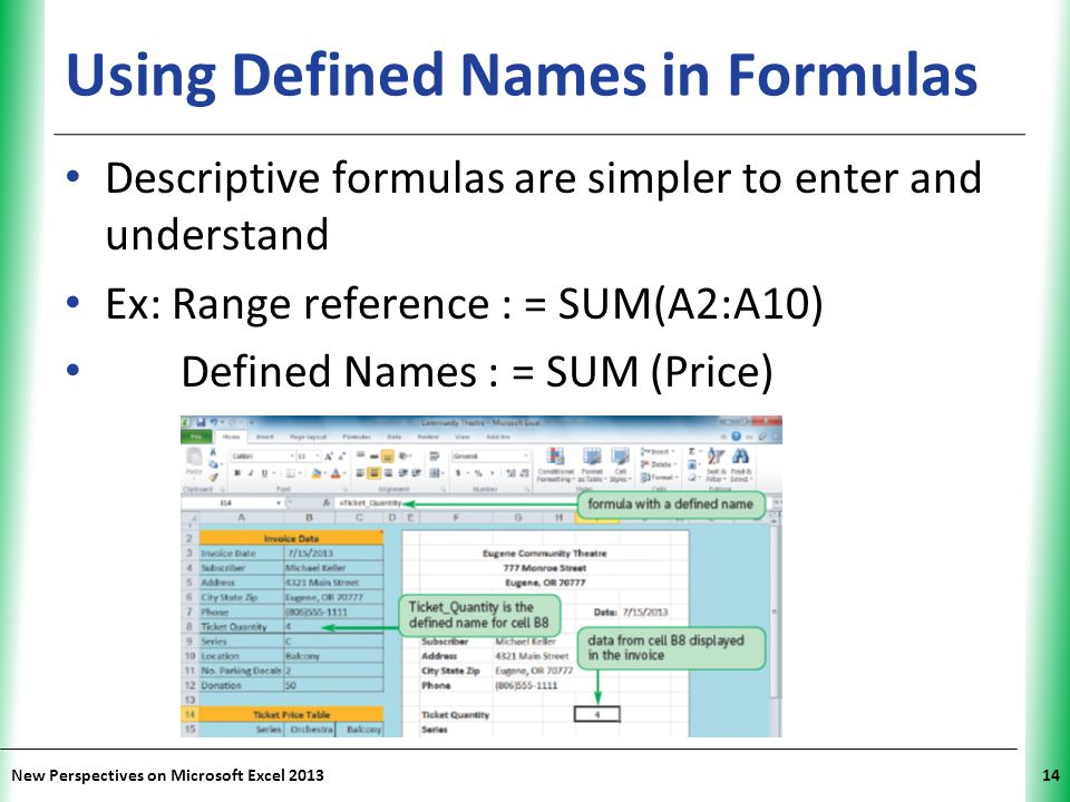 Using Defined Names in Formulas