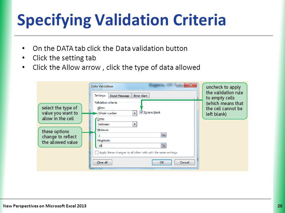 Specifying Validation Criteria