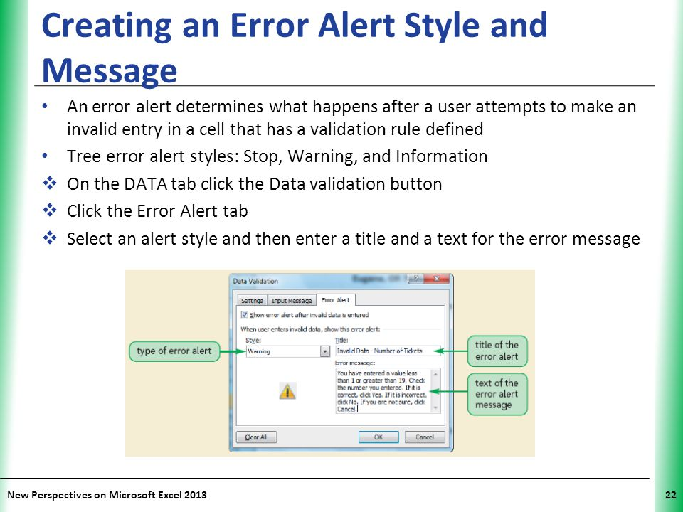 Creating an Error Alert Style and Message