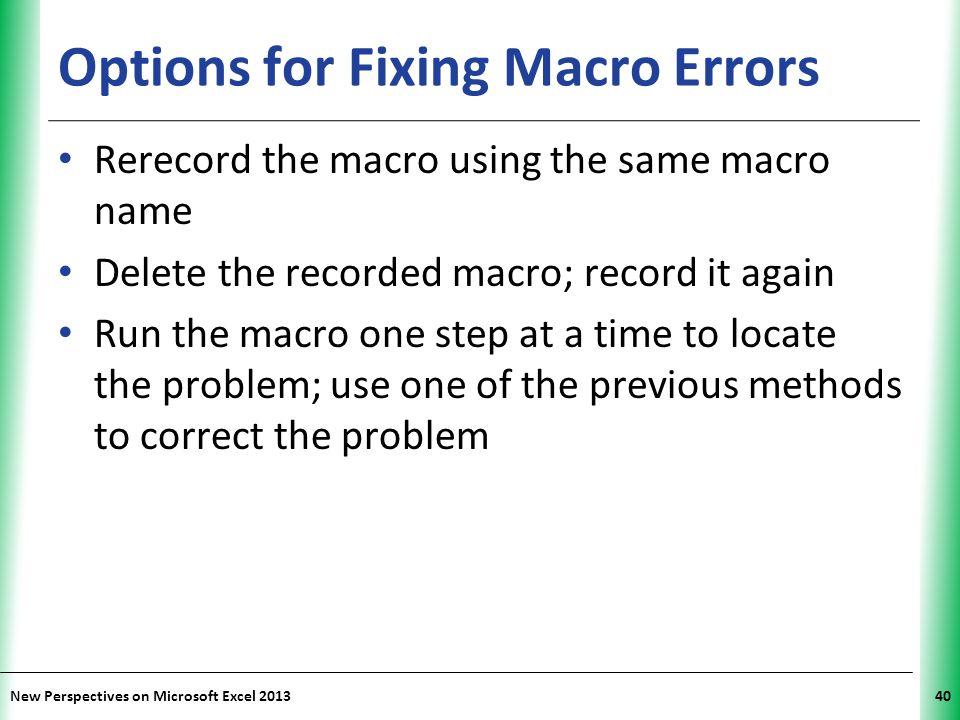 Options for Fixing Macro Errors
