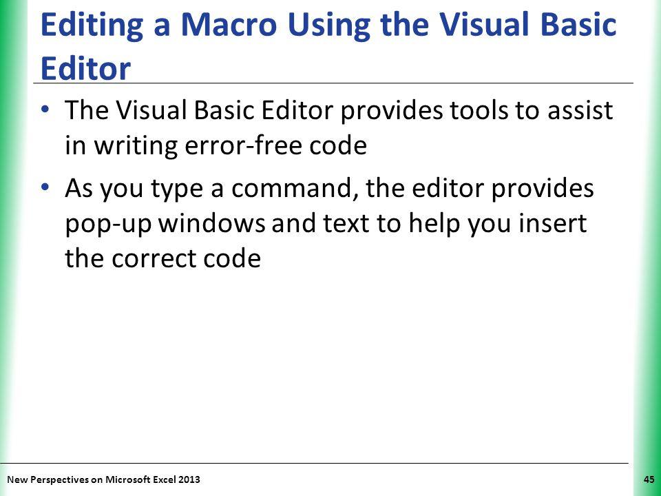 Editing a Macro Using the Visual Basic Editor