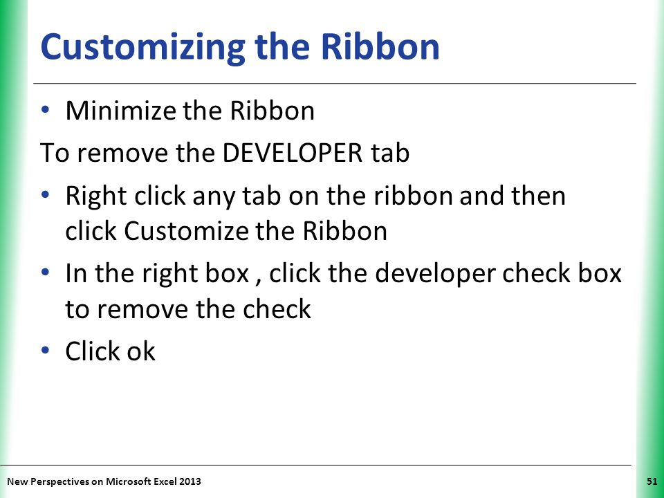 Customizing the Ribbon
