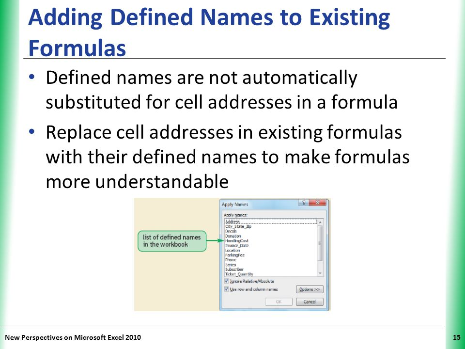 Adding Defined Names to Existing Formulas