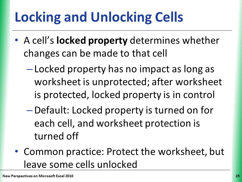 Locking and Unlocking Cells