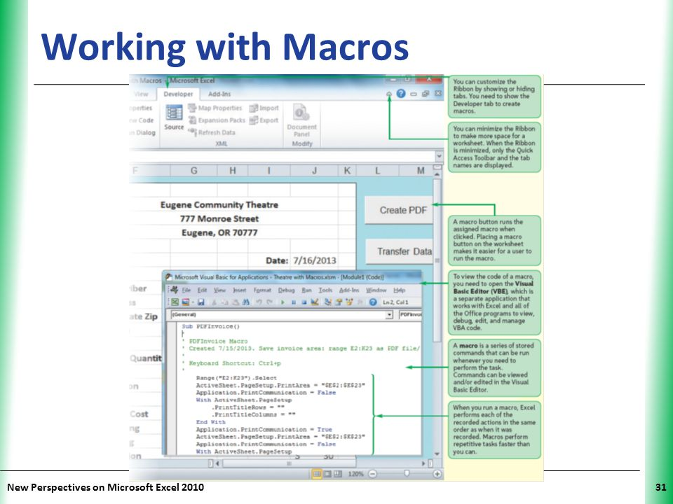 Working with Macros New Perspectives on Microsoft Excel 2010