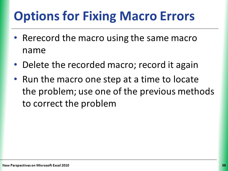 Options for Fixing Macro Errors