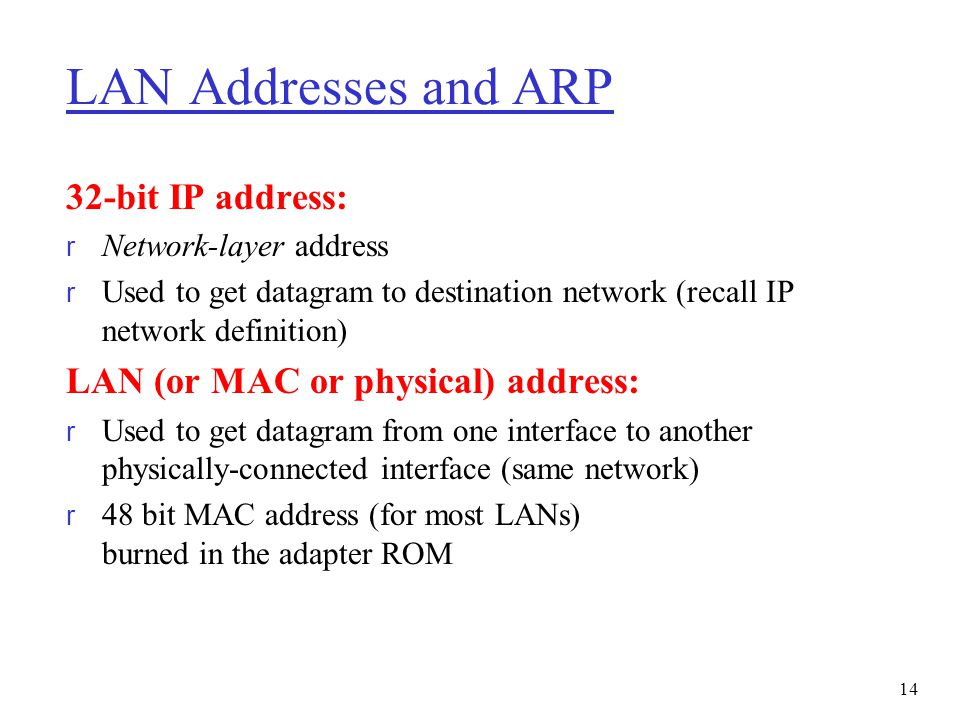 LAN Addresses and ARP 32-bit IP address: