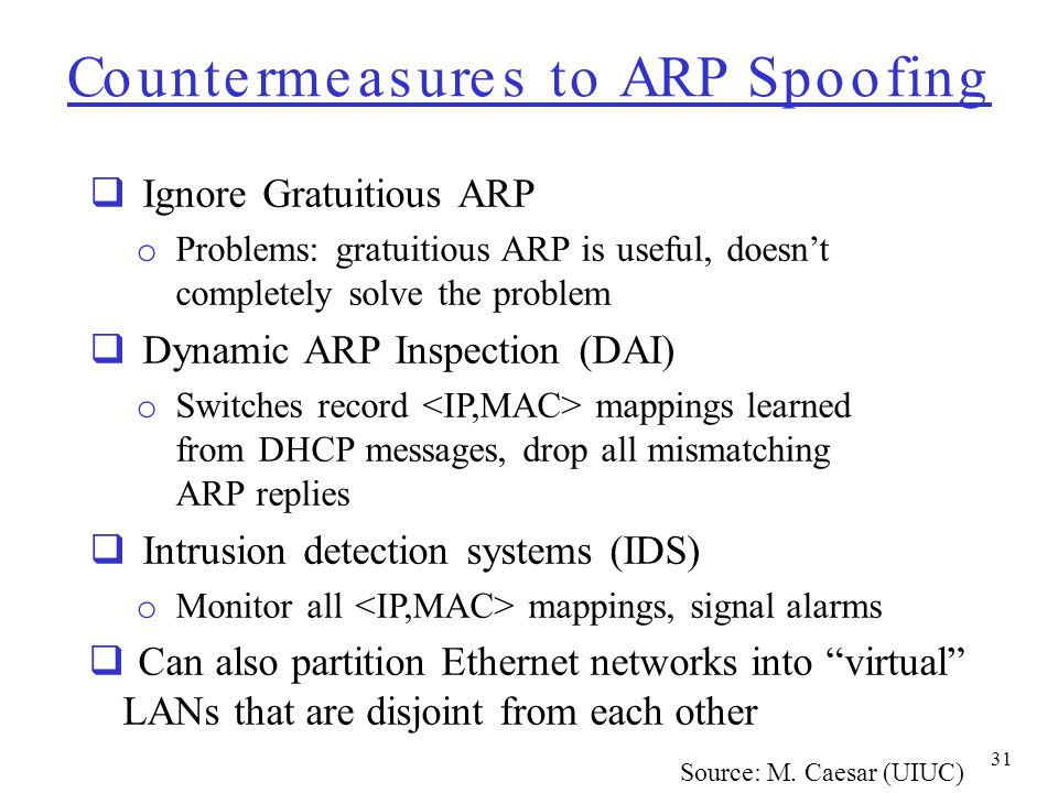 Countermeasures to ARP Spoofing