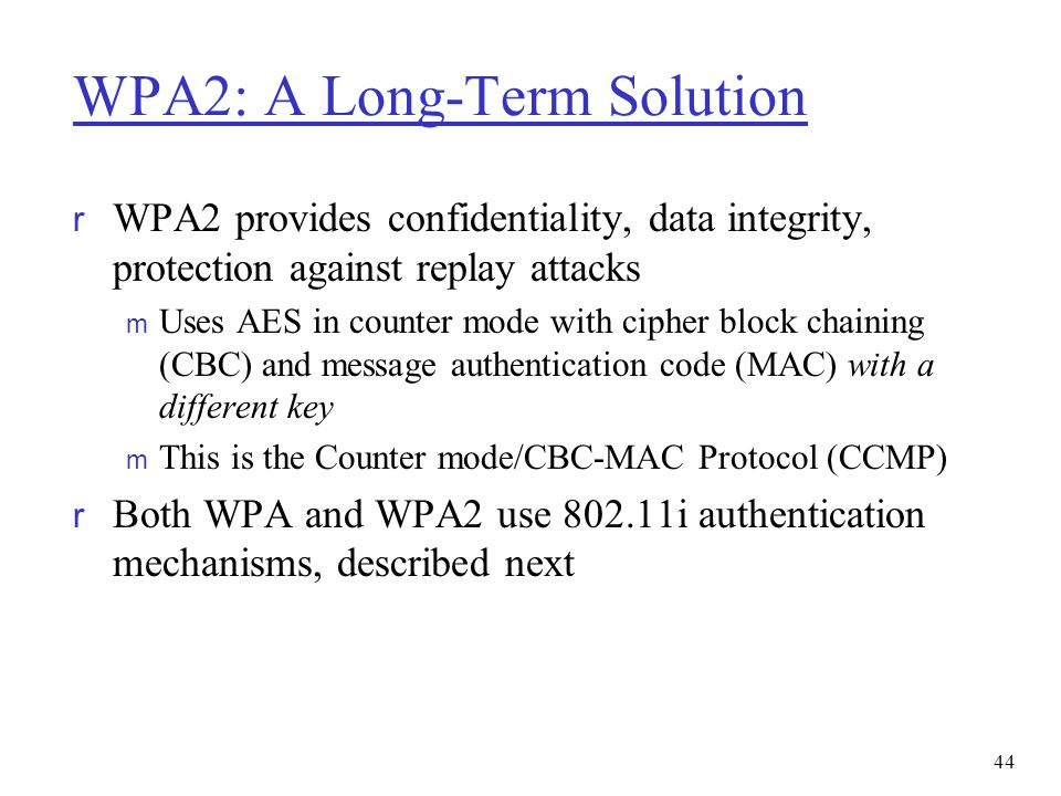 WPA2: A Long-Term Solution
