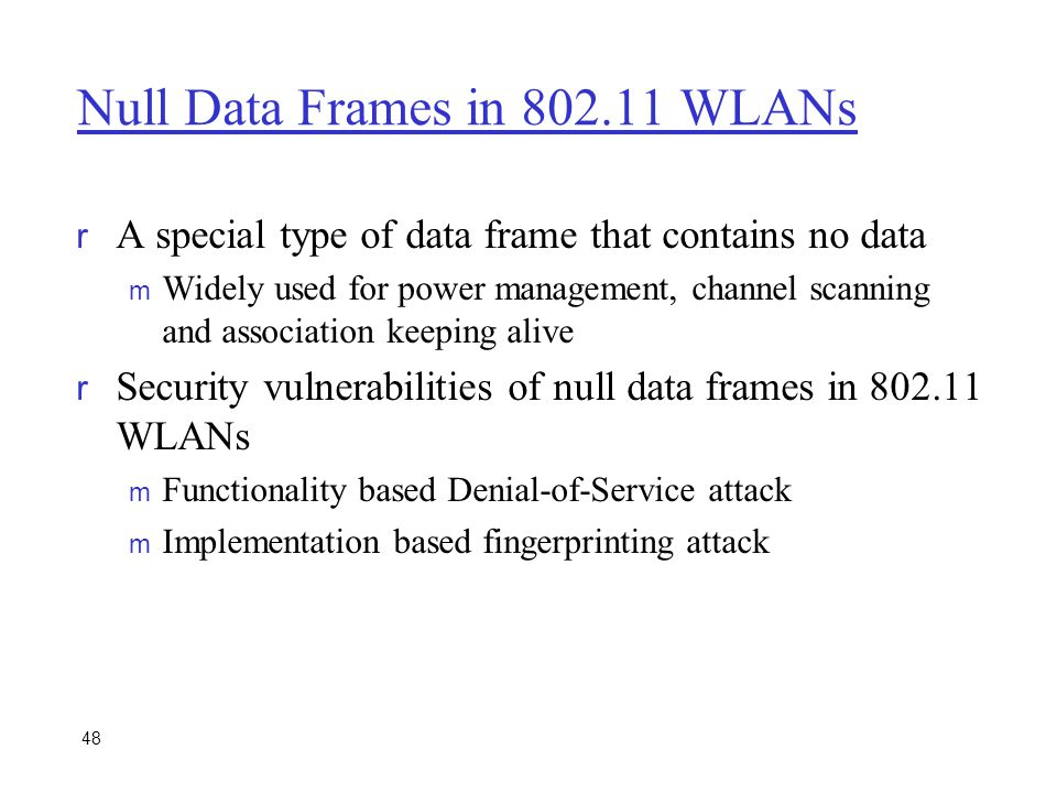 Null Data Frames in 802.11 WLANs