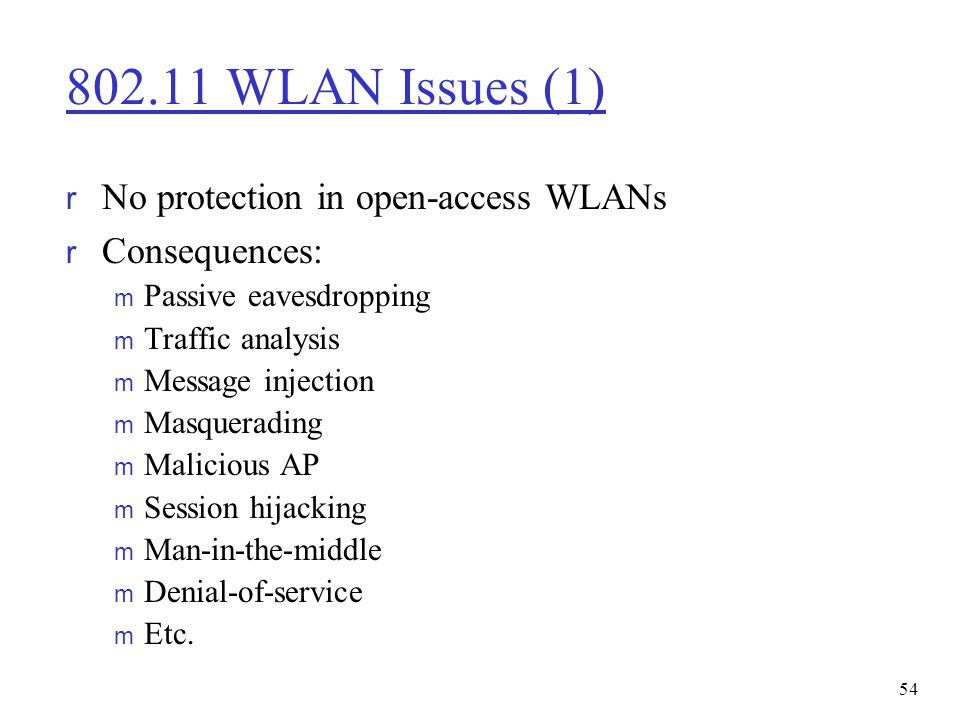 802.11 WLAN Issues (1) No protection in open-access WLANs