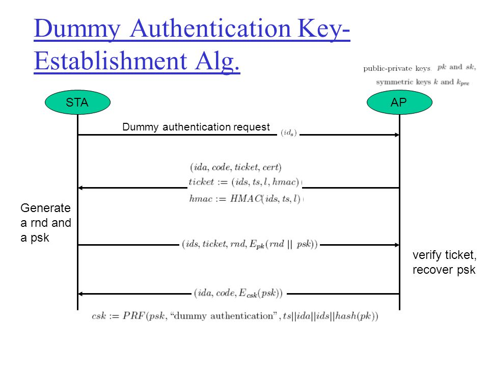 Dummy Authentication Key-Establishment Alg.