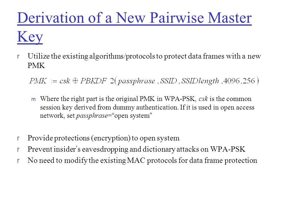 Derivation of a New Pairwise Master Key