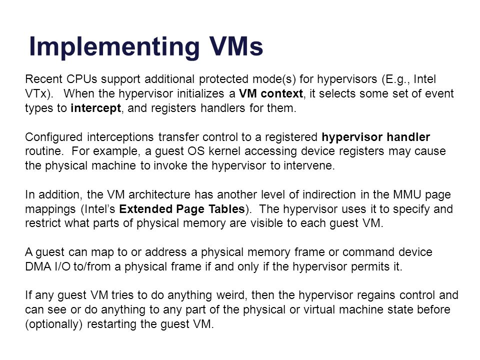 Implementing VMs