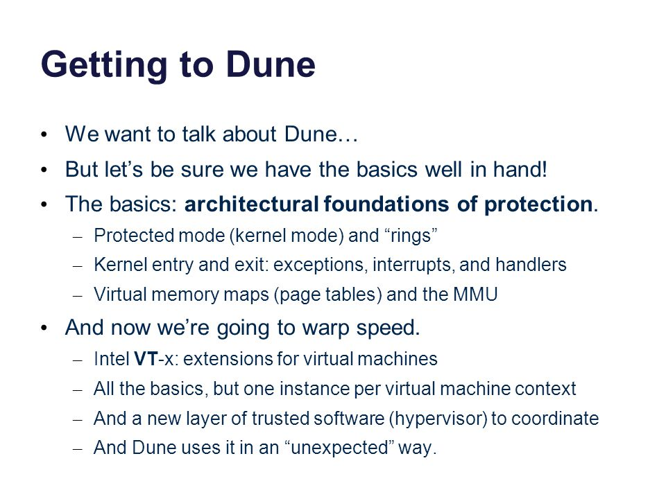 Getting to Dune We want to talk about Dune…