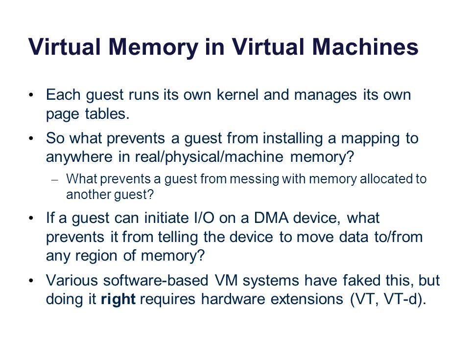 Virtual Memory in Virtual Machines