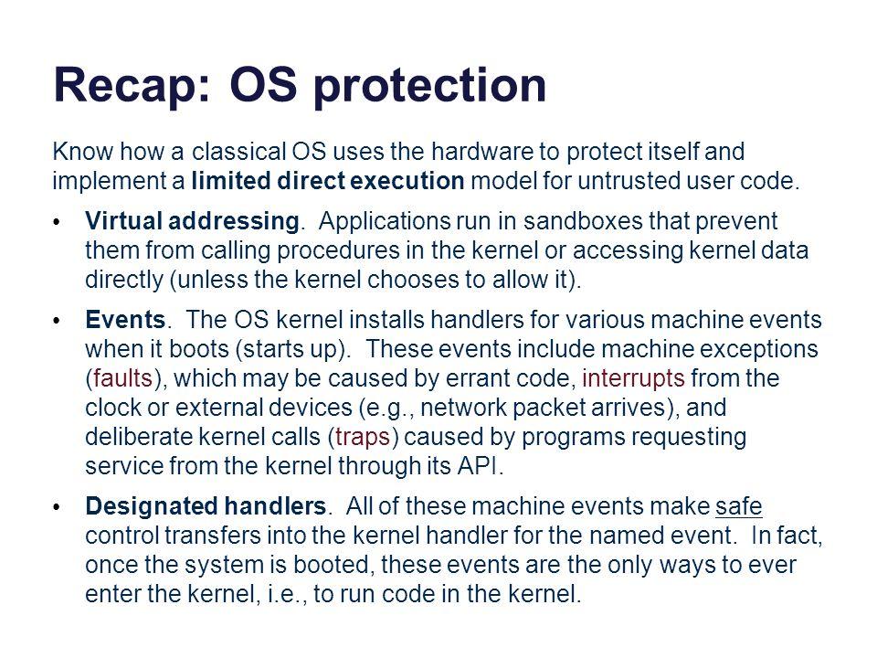 Recap: OS protection