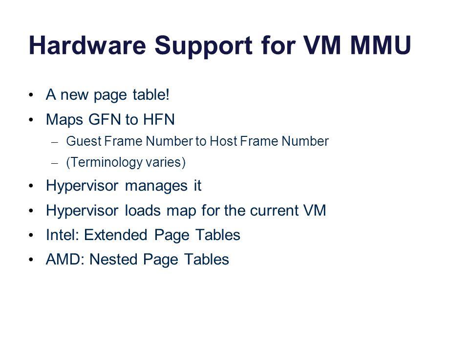 Hardware Support for VM MMU