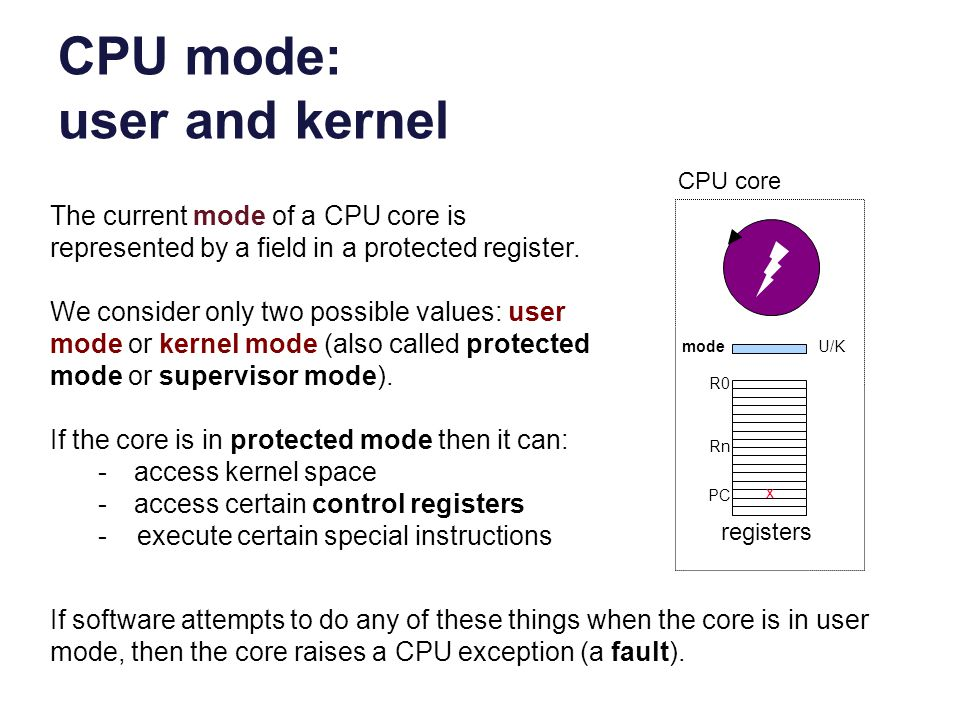 CPU mode: user and kernel
