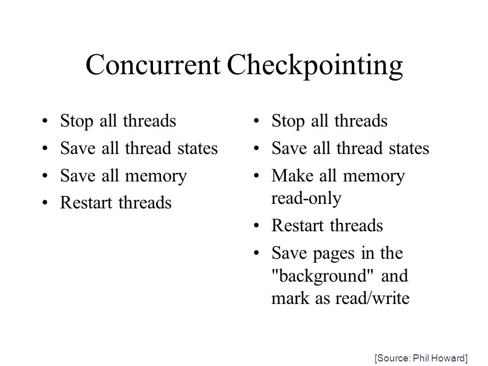 Concurrent Checkpointing