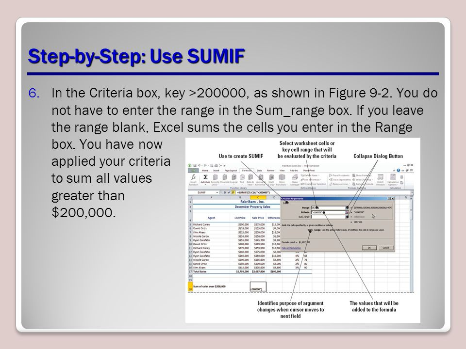 Step-by-Step: Use SUMIF