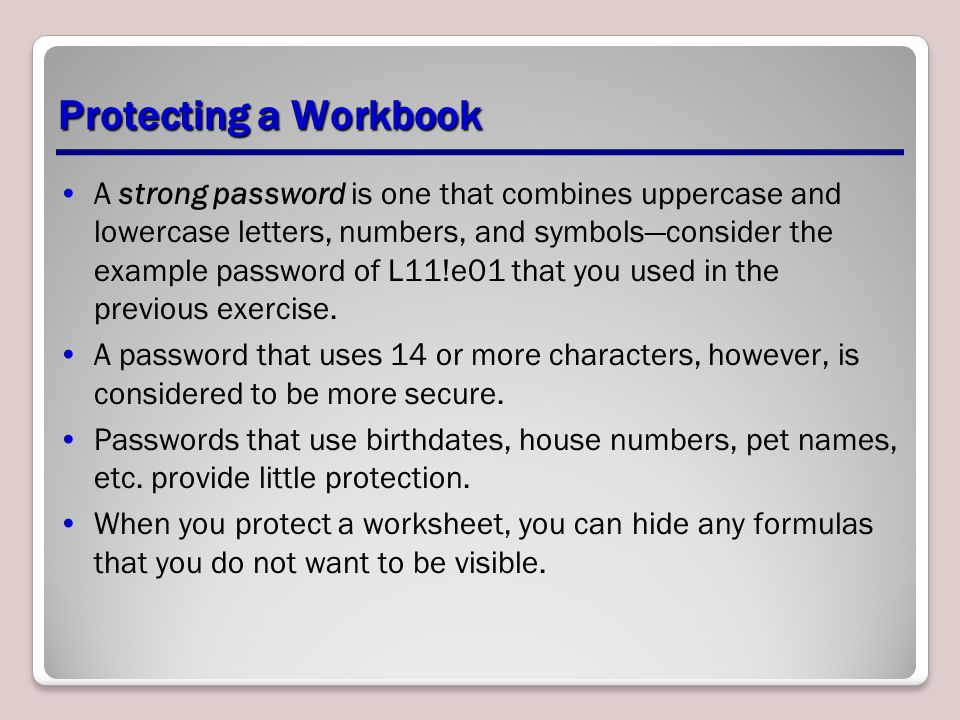 Protecting a Workbook