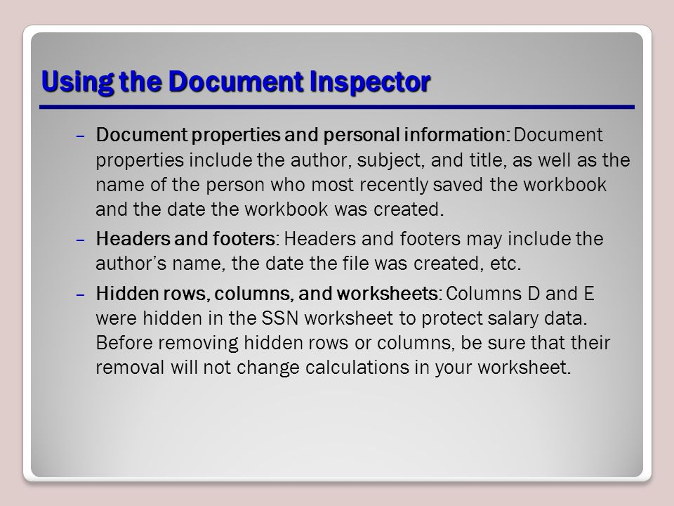 Using the Document Inspector