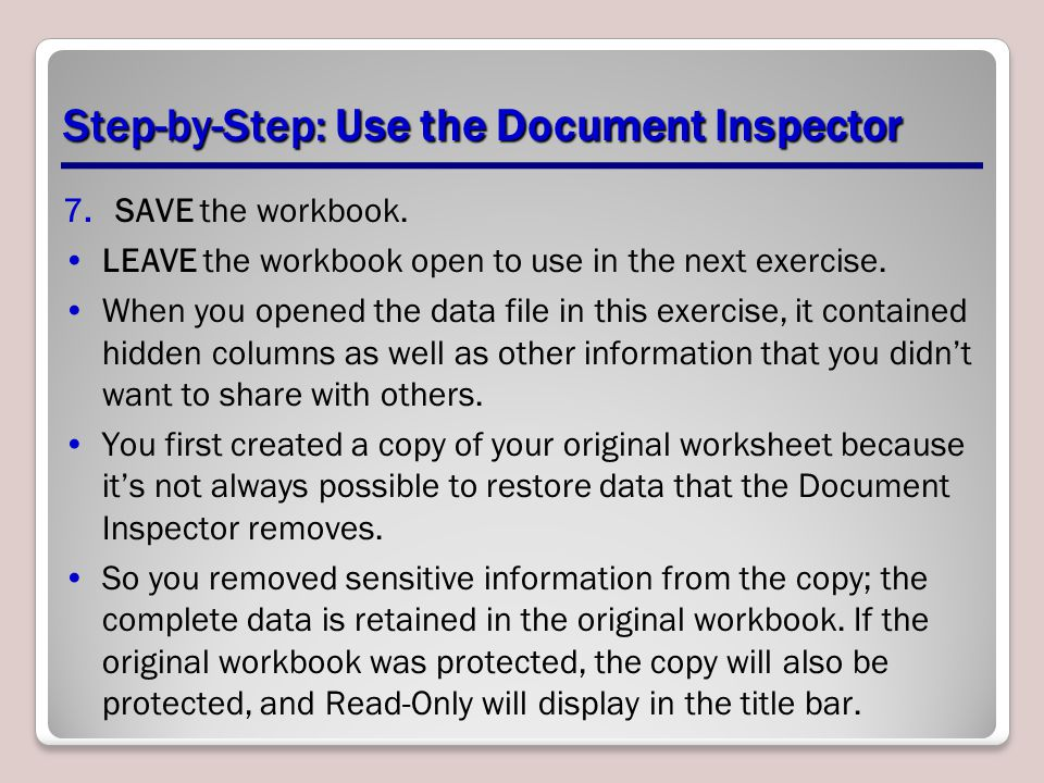 Step-by-Step: Use the Document Inspector
