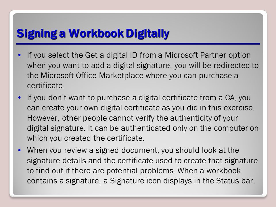 Signing a Workbook Digitally