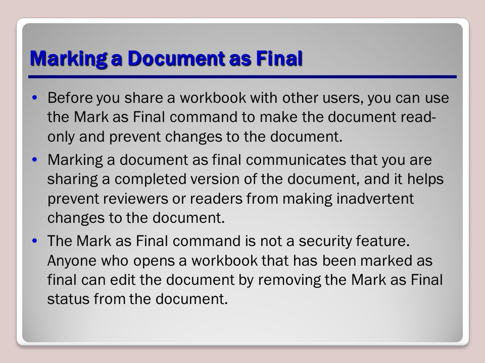 Marking a Document as Final