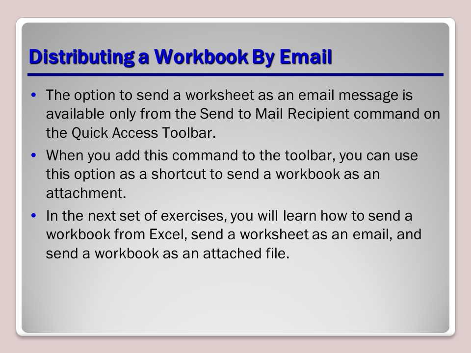 Distributing a Workbook By Email