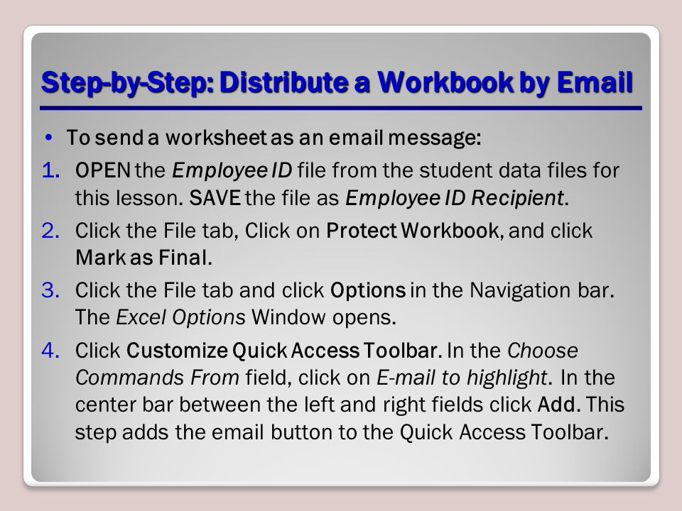 Step-by-Step: Distribute a Workbook by Email