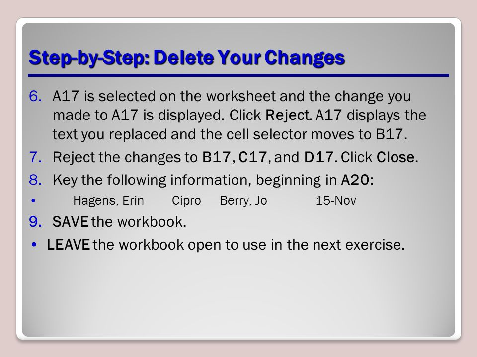 Step-by-Step: Delete Your Changes