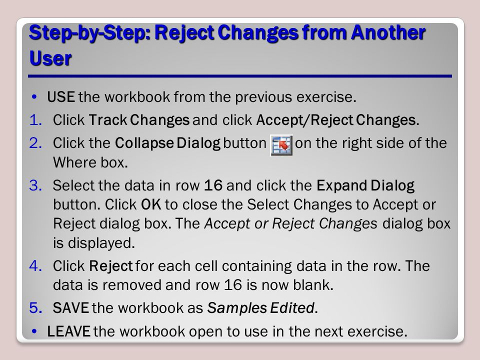 Step-by-Step: Reject Changes from Another User
