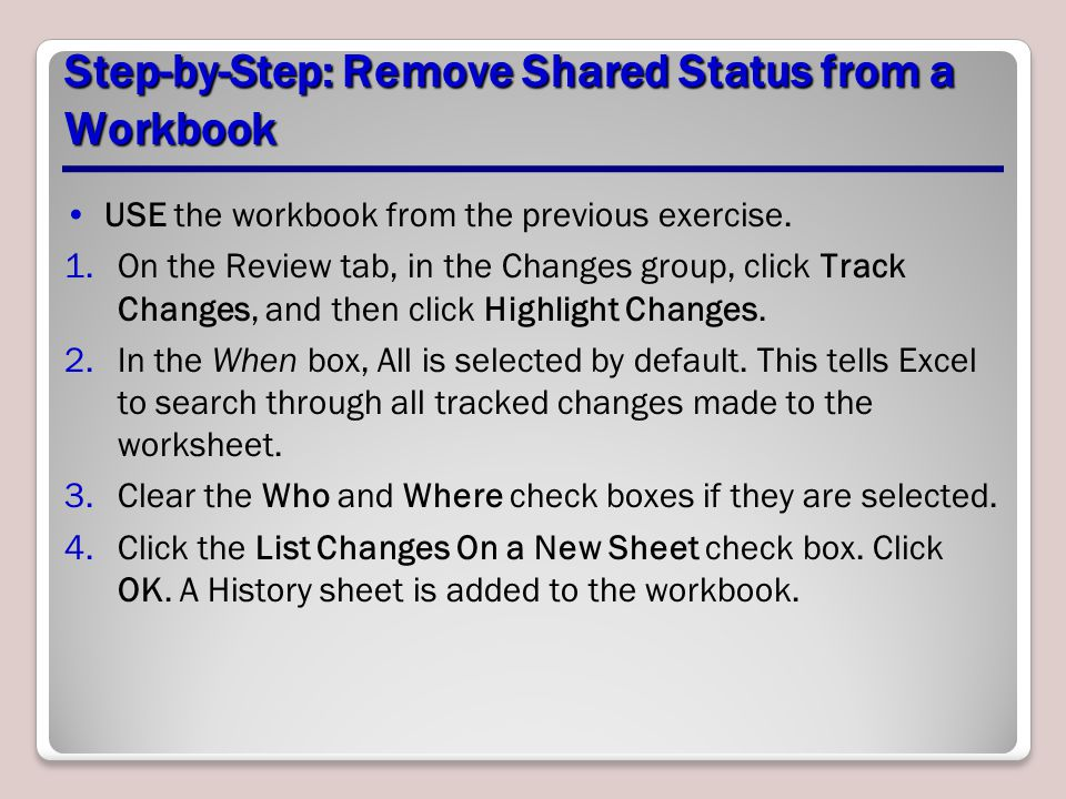 Step-by-Step: Remove Shared Status from a Workbook